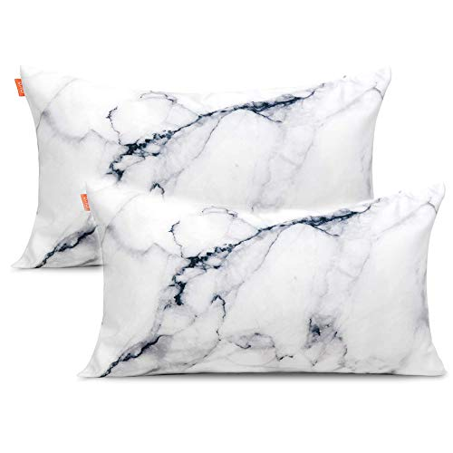 Satin Throw Pillow - Ojia Set of 2 Decorative Pillow Covers, Soft Silky Satin Marble Throw Cushion Cover (12 X 20 Inch, White)