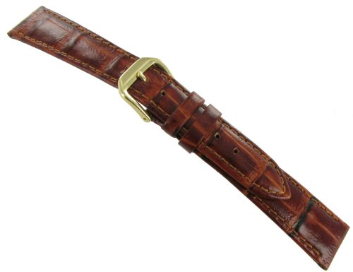 18mm Milano Bamboo Genuine Leather Alligator Grain Tan Brown Padded Stitched Watch Band Regular