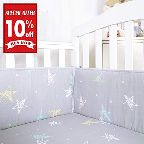 (Designthology Baby Breathable 100% Cotton Muslin Crib Bumper Pads for Standard Cribs Machine Washable Padded Crib Liner, Gray Star, 4-Pieces)