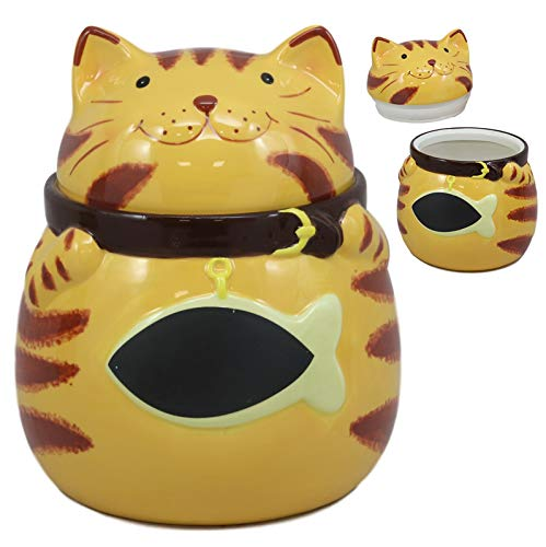 Ebros Ceramic Feline Orange Tabby Fat Cat With Giant Fish Belly Cookie Jar 7.25
