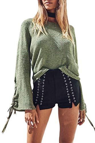 Pour de femmes Zhrui couleur vert vert taille M Wide Top les chandails T7xa4Eq6w