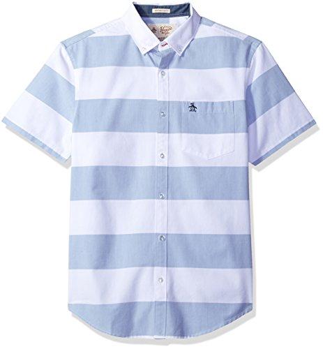 Original Penguin Men's Horizontal Deck Stripe Woven Short Sleeve Shirt, Bright White, X-Large - Multi Stripe Woven Shirt