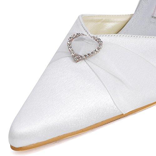 Elegantpark A560 Donne Scarpe Tacco Alto Scarpe A Punta Scarpe Da Sposa In Raso Cinturino Alla Caviglia Fibbia In Raso Bianco