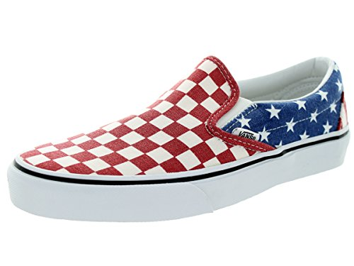Vans Classic Classic Slip On White Red Blue Womens Trainers White Red Blue