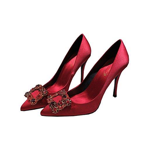 boca rojo cena altos tacones Rojo solteras 10cm acentuados Tamaño satinado 35 hebilla tacones Rojo satén mujeres cuadrada Color baja salvaje fPn5q0