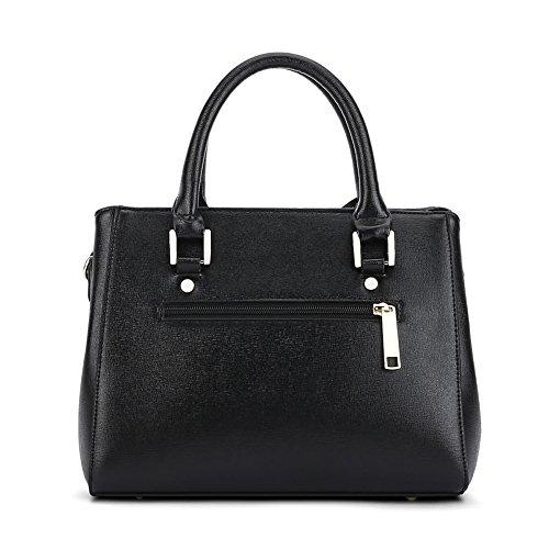 Damen Klassisch Handtaschen PU Leder Schultertasche mit Metalldekoration Blau Schwarz