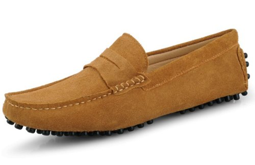 (Fengxinzi Men's Casual Earth Yellow Suede Leather Loafer size 10.5 M US)