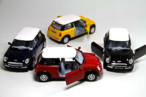 """Set of 4: 5"""" Mini Cooper S 1:28 Scale (Blue/Green/Red/Yellow) by Kinsmart"""