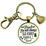 Dad You Will Always Be The First Keychain Gift From Daughter Bride To Father Vintage Inspired Keepsake Pendant Card