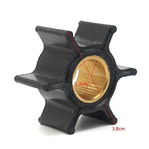 (Daphot-Store - 386084 18-3050 500355 Boat Outboard Motors Water Pump Impeller For Johnson Evinrude 9.9/15HP 6 Blades Replacement Rubber Black)