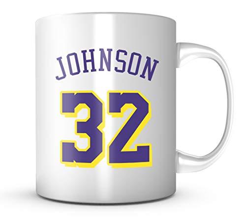 MAGIC JOHNSON #32 Los Angeles Basketball Mug - Jersey Number Purple & Gold Coffee Cup - Magic Johnson Basketball