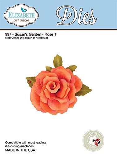 Elizabeth Craft Designs Garden Notes Rose Die Metal Grey