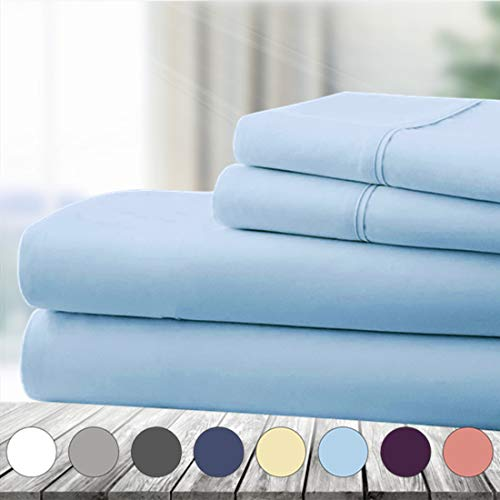 Abakan King Bed Sheet Set 4 Piece Super Soft Brushed Microfiber 1800 Thread Count Hotel Luxury Egyptian Sheet Breathable, Wrinkle, Fade Resistant Deep Pocket Bedding Sheet Set (King, Lake Blue)