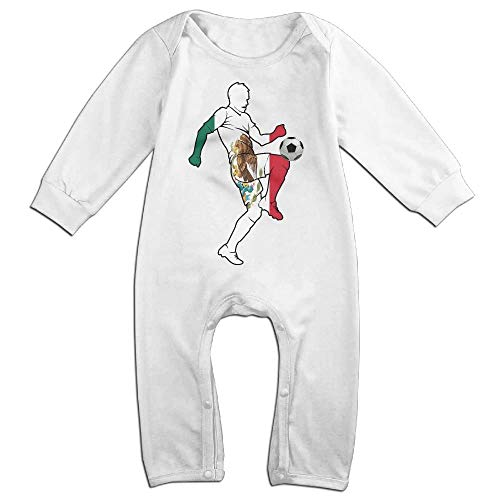 TYLER DEAN Newborn Kids Bodysuits Soccer Player with Mexico Flag Baby Rompers White