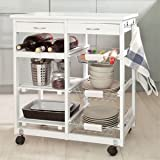 Haotian Wooden Kitchen Storage Cart with Shelves & Drawers,Hostess Trolley,Kitchen Storage Rack FKW04-W,white,67cm(26.4in)x 37cm(14.5in)x 75cm(29.5in) Review