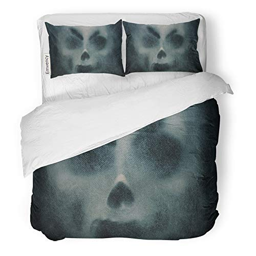 Emvency 3 Piece Duvet Cover Set Brushed Microfiber Fabric Breathable Abstract Ghost Mask Horror on Actor Alien Bedding Set with 2 Pillow Covers King Size