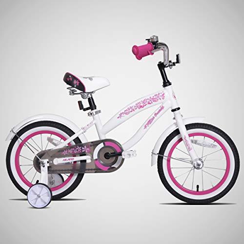 JOYSTAR 16 Inch Girls Bike with Training Wheels & Bell for 4 5 6 7 Years, Children Beach Cruiser Kids Bicycle with Fender, White