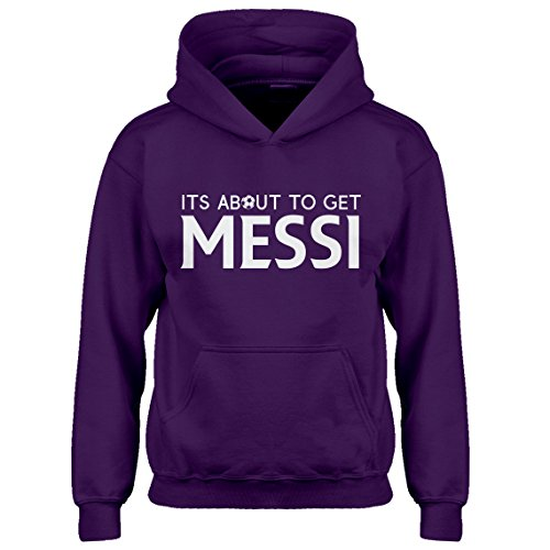 Kids Hoodie Its About to Get Messi Youth XL - (14) Purple Hoodie