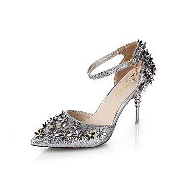 Botas de las mujeres de Otoño-Invierno Comodidad Vestido ocasional de la PU tacón grueso de la cremallera con cordones Negro Marrón Burdeos Silver