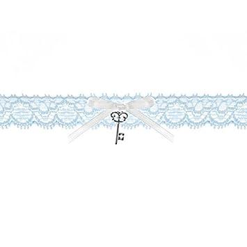 meet 8b2cc 4fc2f Braut-Strumpfband Spitzenstrumpfband blau mit weißer Satinband-Schleife und  Schlüssel-Anhänger Hochzeit Strumpf Band. Von Haus der Herzen ®