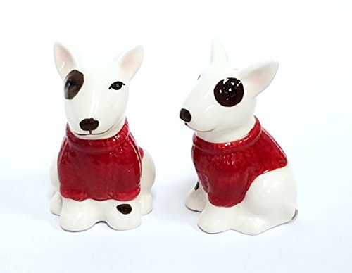 Bull Terrier Dog Ceramic Design Salt and Pepper Shaker Set. Red and white.