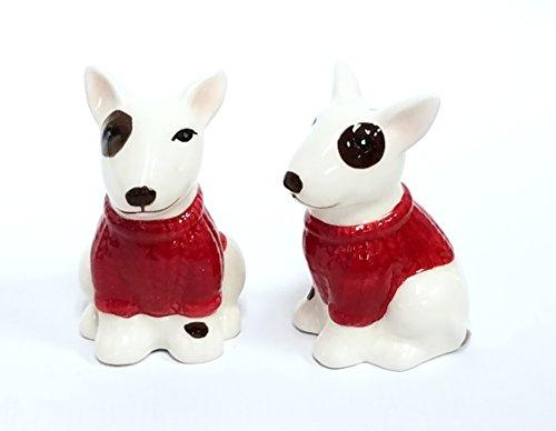 White Bull Terrier - Bull Terrier Dog Ceramic Design Salt and Pepper Shaker Set. Red and white.