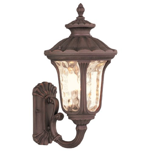 Livex Lighting 7652-58 Oxford 1 Light Imperial Bronze Cast Aluminum Wall Lantern with Light Amber Water Glass
