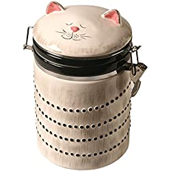 ART & ARTIFACT Ceramic Cat Treat Cookie Jar - Sealable Kitchen Canister