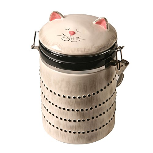 Ceramic Cat Treat Cookie Jar - Sealable Kitchen Canister (Jar Cookie Ceramic With Lid)