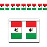 Club Pack of 12 Red, White and Green Outdoor Mexican Flag Banner Hanging Party Decorations 60'