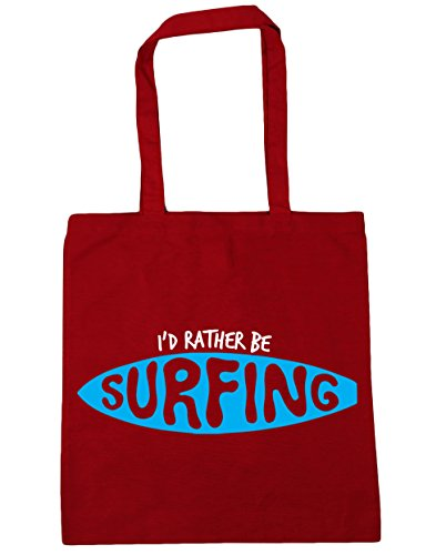 HippoWarehouse I 'd Rather BE SURFING Tote Compras Bolsa de playa 42 cm x38 cm, 10 litros Classic Red