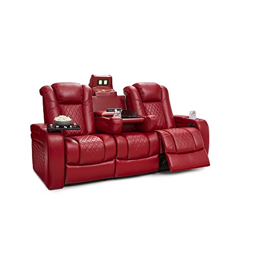 Seatcraft Anthem Home Theater Seating Leather Multimedia Power Recline Sofa with Drop-Down Table, Powered Headrests, Storage, and Cupholders - The Anthem At Outlets