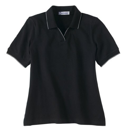 Ash City Ladies Johnny Collar Polo Shirt With Pencil Stripe (X-Large, Black/White) by Ash City Apparel