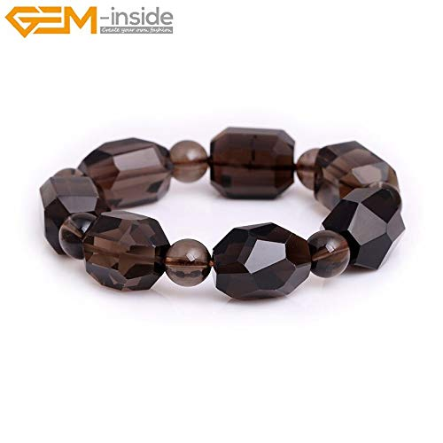 (Natural Faceted Smoky Quartzs Gem Stone Beaded Elastic Bracelets | for Jewelry Making DIY)