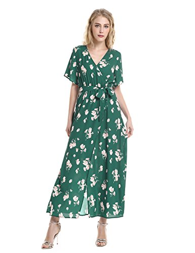 sses for Women V Neck Short Sleeve Sexy Front Split Surplice Dress (Green Surplice)