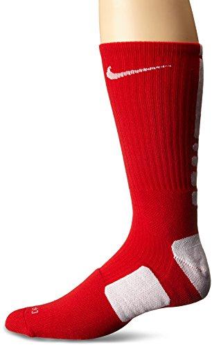 Nike Elite Basketball Crew Socks (LG (Men's Shoe 8-12, Women's Shoe 10-13), UNIVERSITY RED/WHITE/WHITE) - Basketball Mens Socks
