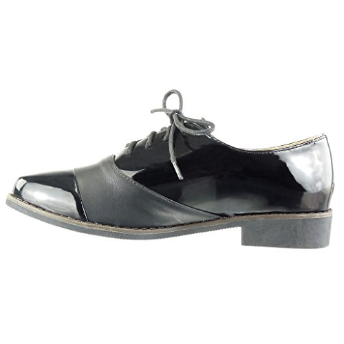 Bimaterial Brillantes Tacón Ancho Zapatillas Angkorly Negro 2 Pespunte Costura Acento Mujer Cm 5 Moda Acabado Zapato YxFYSqIwa