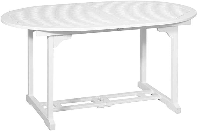 mewmewcat Mesa de Comedor Extensible para Jardín con un Hueco para la Sombrilla, Blanca Ovalada (150-200) x 100 x 74 cm: Amazon.es: Deportes y aire libre