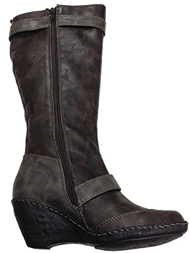 Brown Leather Tall 752180 Calf 3 TRENDS Ladies Size Faux 8 Mid Boots Wedge ODGI Riding qwgnYCAxAX