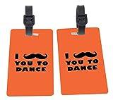 I Mustache You To Dance Orange Color Design Plastic Flexi Luggage Identifier Tags + Strap Closure