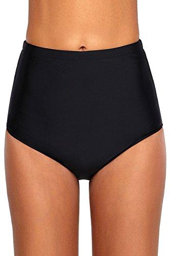 QUEENIE VISCONTI Women Extra High Waisted Swimsuit Boardshorts Tummy Contral Retro Bikini Bottoms Black 10 12 Retro Bikini Pant