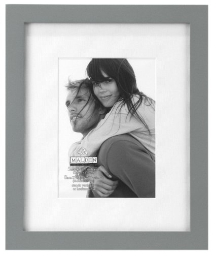 Malden International Designs Matted Linear Classic Wood Picture Frame, Gray ( 5x7-Inches )