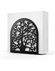 Nuovoware Napkin Holder, Tree & Bird Design Black Metal Tabletop Paper Napkin Holder Freestanding Tissue Dispenser for Kitchen Countertops, Dinning, Picnic Table - Black