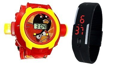 Pappi Boss QUALITY ASSURED - Kids Special Toys - Pack of 2 - Angry Bird Projector Band Watch + Jelly Slim Black Digital Led Band Watch for Kids, Children - Boss Birds
