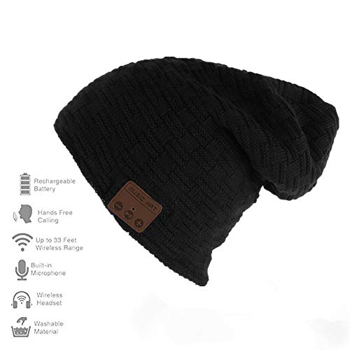 Happy-top Wireless Bluetooth Beanie Hat 4.2 Unisex Winter Warm Knitted Hat Trendy Cap with Stereo Headphone Headset Speaker Mic Hands-free for Sports Workout Best Christmas Gifts (Smlattice Black)