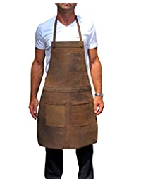Ultimate Leather Apron for Professionals. from One Leaf (Brass Colour Hardware)