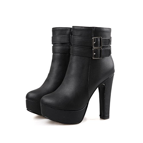 Amoonyfashion Mujeres Low Top Solid Cremallera Round Closed Toe Botas De Tacón Alto Con Metal Negro