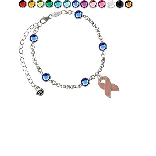 Pink Ribbon with Stitching Custom Crystal Color Fiona Charm Bracelet