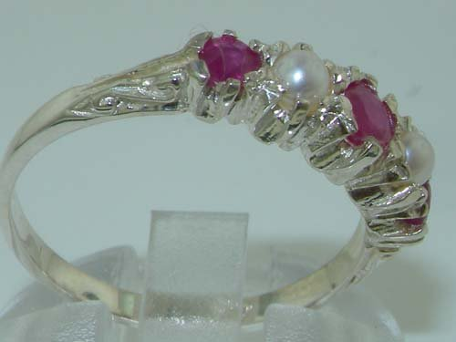 LetsBuyGold 14k White Gold Natural Ruby and Cultured Pearl Womens Band Ring Sizes 4 to 12 Available