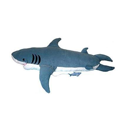 L&WB Gran Tiburón Suave Juguete Almohada Muñeca Perezoso Saco De Dormir Morder Tiburón Cama Sofá Gris